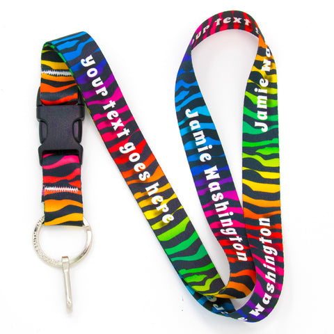 Buttonsmith Rainbow Zebra Custom Lanyard Made in USA
