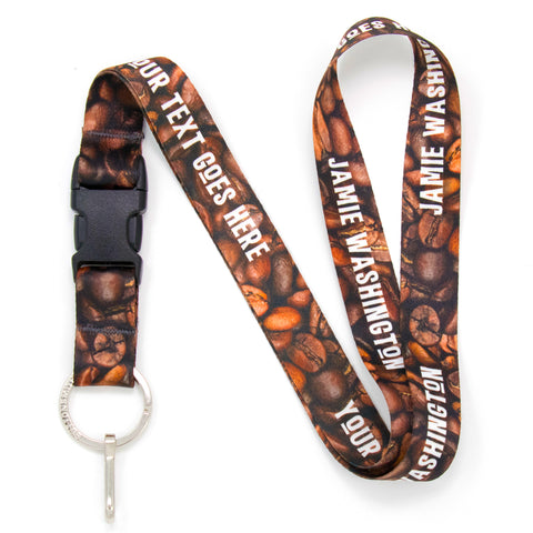 Buttonsmith Coffee Beans Custom Lanyard Made in USA