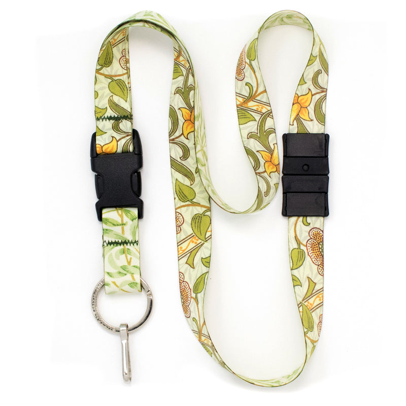 Buttonsmith William Morris Daffodils Breakaway Lanyard - Made in USA - Buttonsmith Inc.