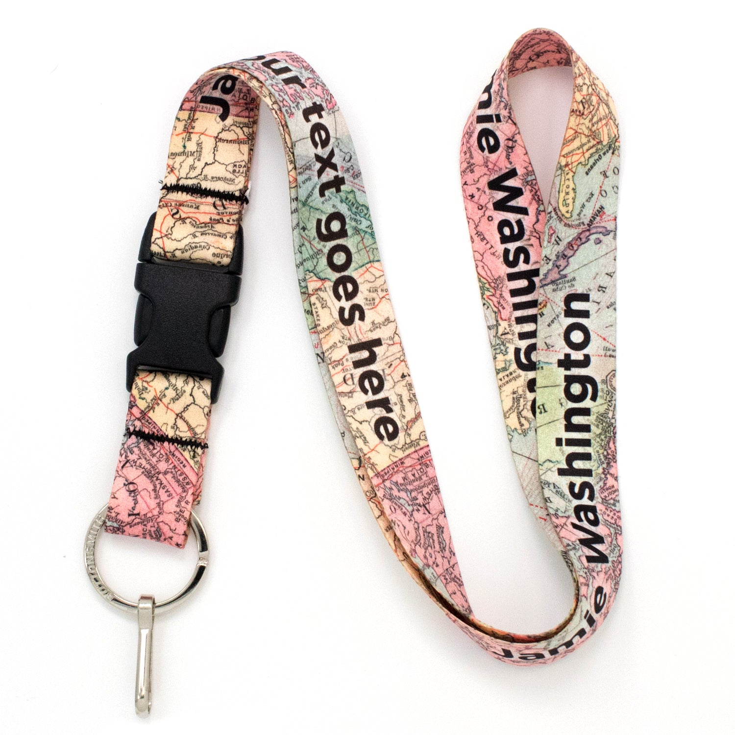 Buttonsmith Map Custom Lanyard - Made in USA