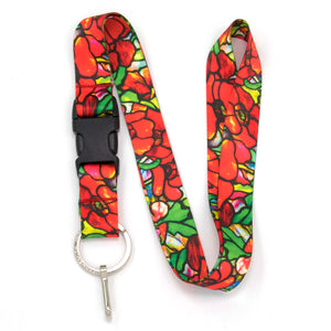 Buttonsmith Tiffany Poppies Lanyard - Made in USA