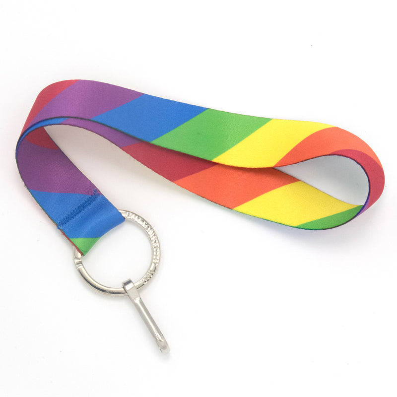 Buttonsmith Rainbow Flag Wristlet Lanyard Made in USA - Buttonsmith Inc.