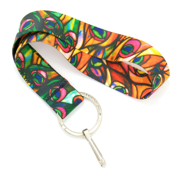 Buttonsmith Tiffany Peacock Wristlet Lanyard Made in USA