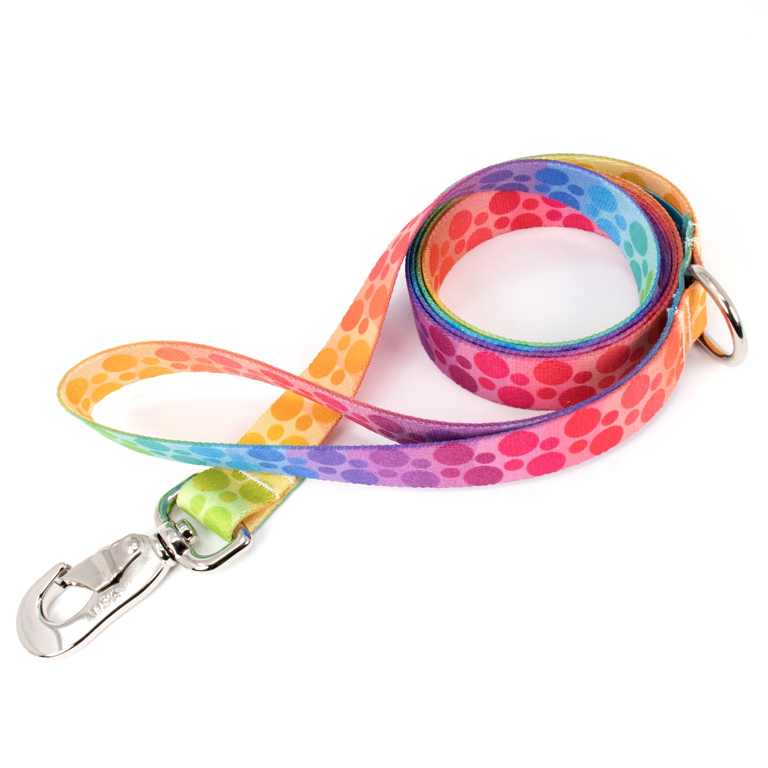 Buttonsmith Rainbow Dots Dog Leash Fadeproof Made in USA