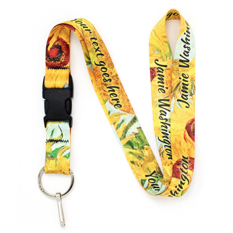Buttonsmith Van Gogh Sunflowers Custom Lanyard - Made in USA