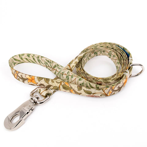 Buttonsmith William Morris Daffodil Dog Leash Fadeproof Made in USA
