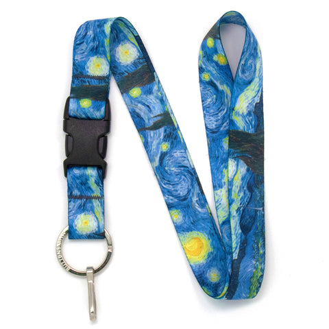 Buttonsmith Van Gogh Starry Night Premium Lanyard - Made in USA