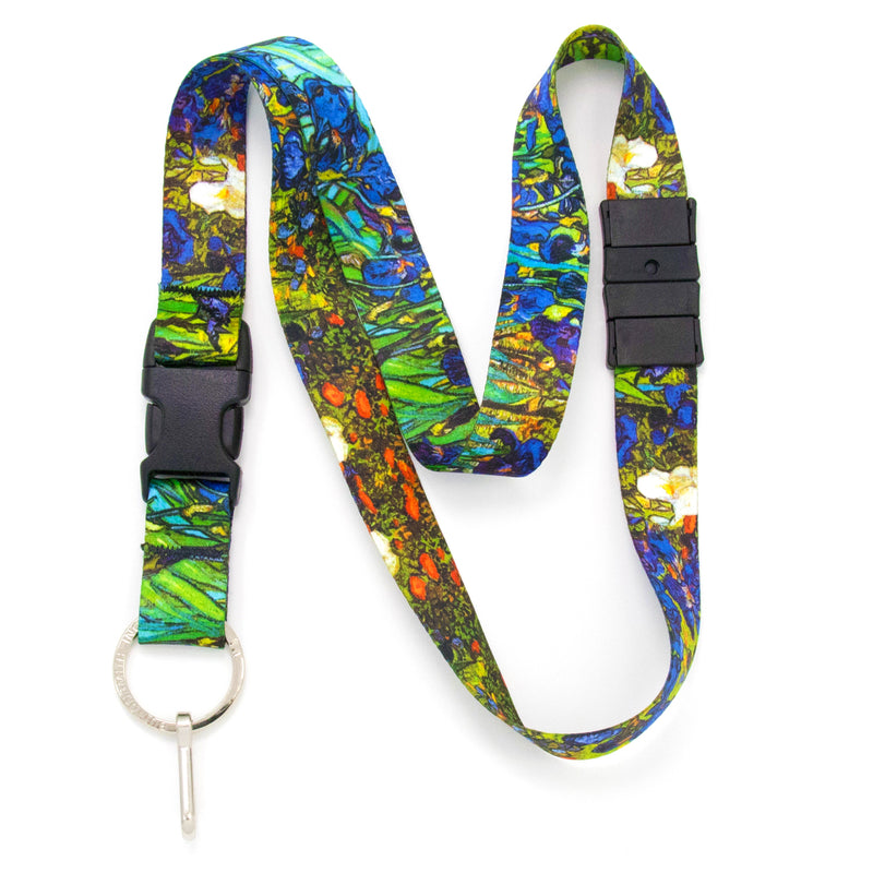 Buttonsmith Van Gogh Irises Breakaway Lanyard - Made in USA - Buttonsmith Inc.