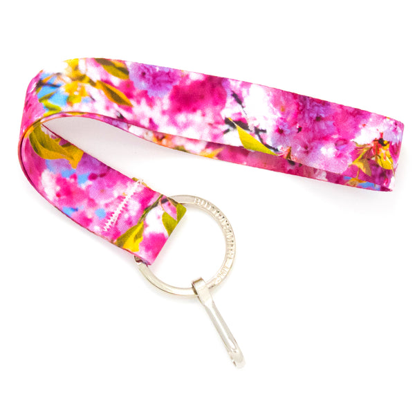 Buttonsmith Cherry Blossoms Photo Wristlet Lanyard Made in USA