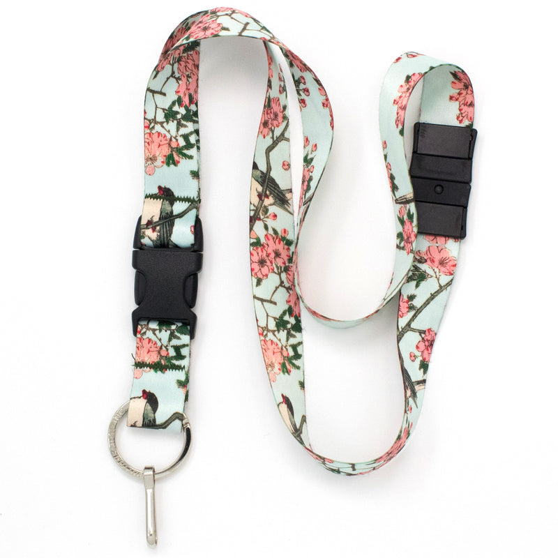 Buttonsmith Hiroshige Cherry Blossoms Breakaway Lanyard - Made in USA - Buttonsmith Inc.