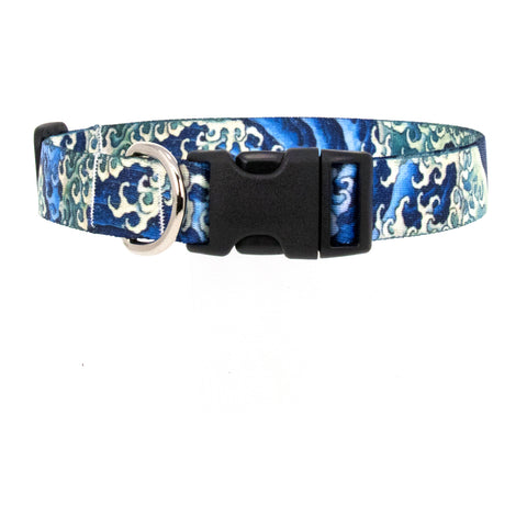 Buttonsmith Hokusai Waves Art Dog Collar - Made in USA