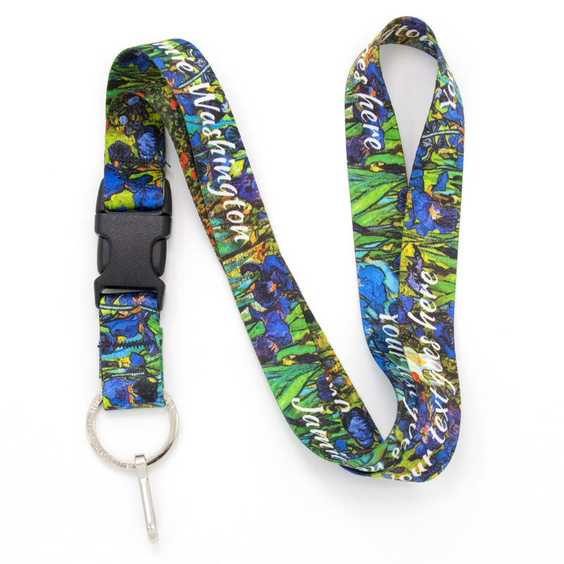 Buttonsmith Van Gogh Irises Custom Lanyard Made in USA - Buttonsmith Inc.