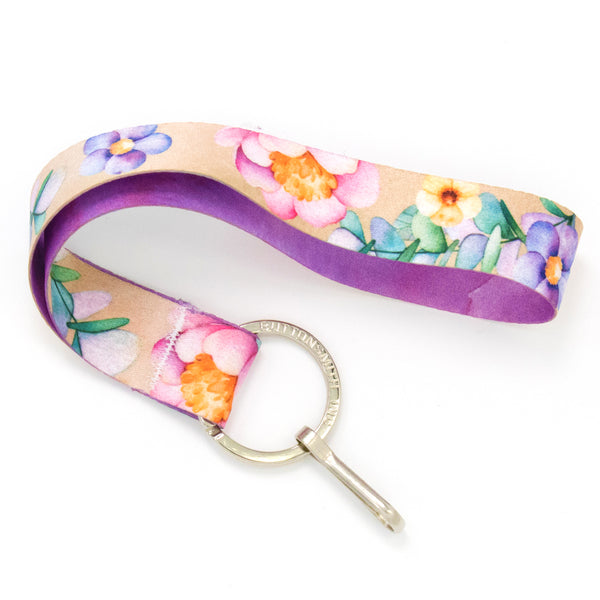 Buttonsmith Watercolor Flowers Wristlet Lanyard Made in USA