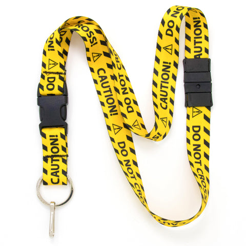 Buttonsmith Caution Breakaway Lanyard - Made in USA