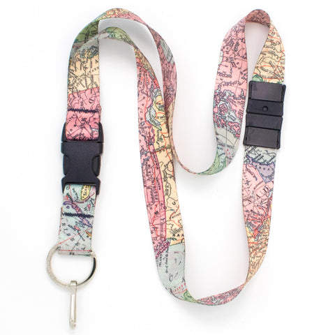 Buttonsmith Map Breakaway Lanyard - Made in USA