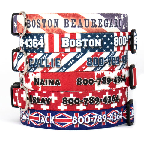 Custom Personalized Dog Collars - Flag Designs - Made in USA