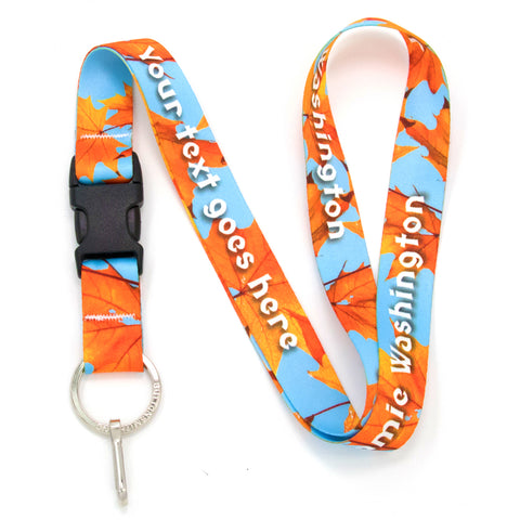 Buttonsmith Fall Leaves Custom Lanyard - Made in USA
