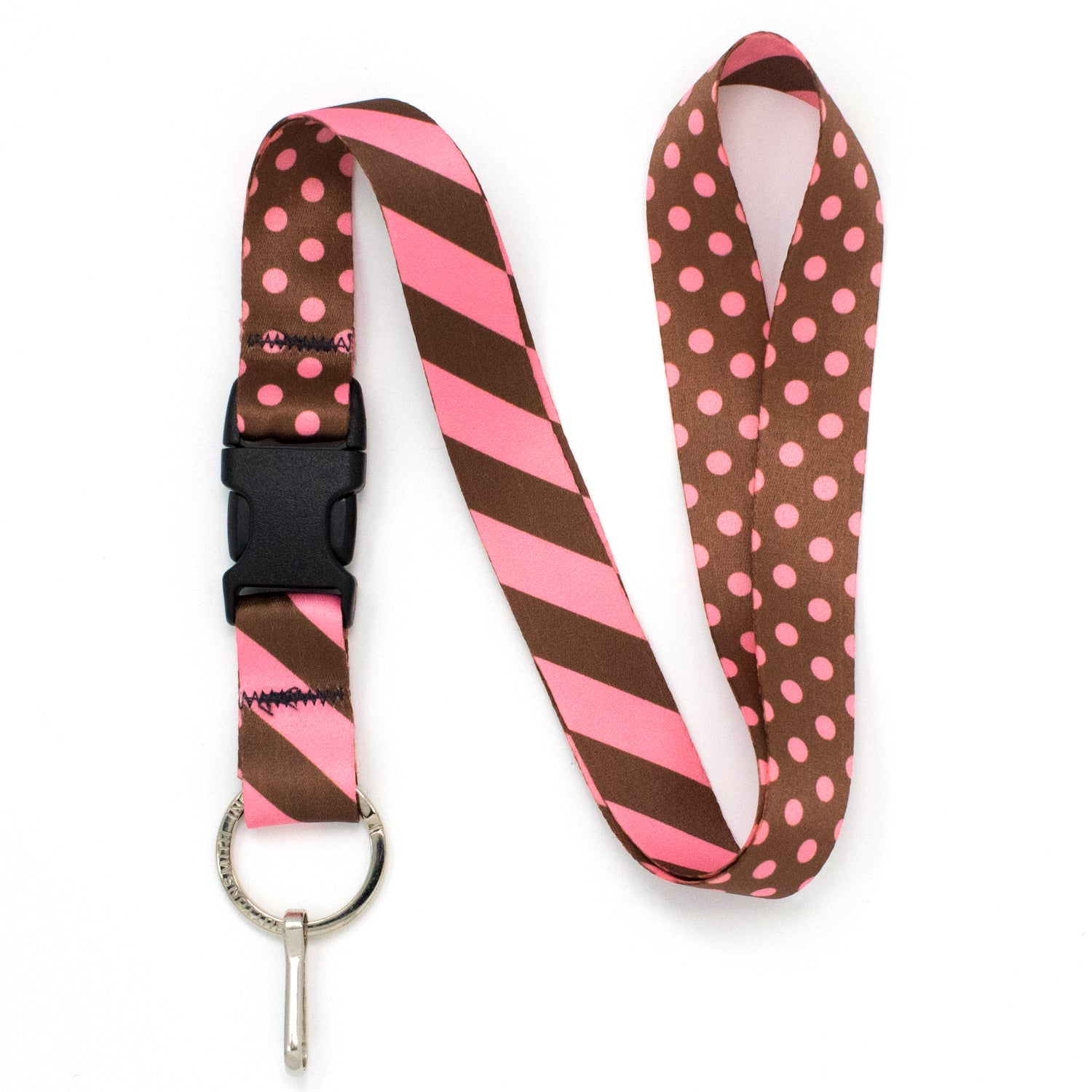 Buttonsmith Cocoa Pink Dots Lanyard - Made in USA