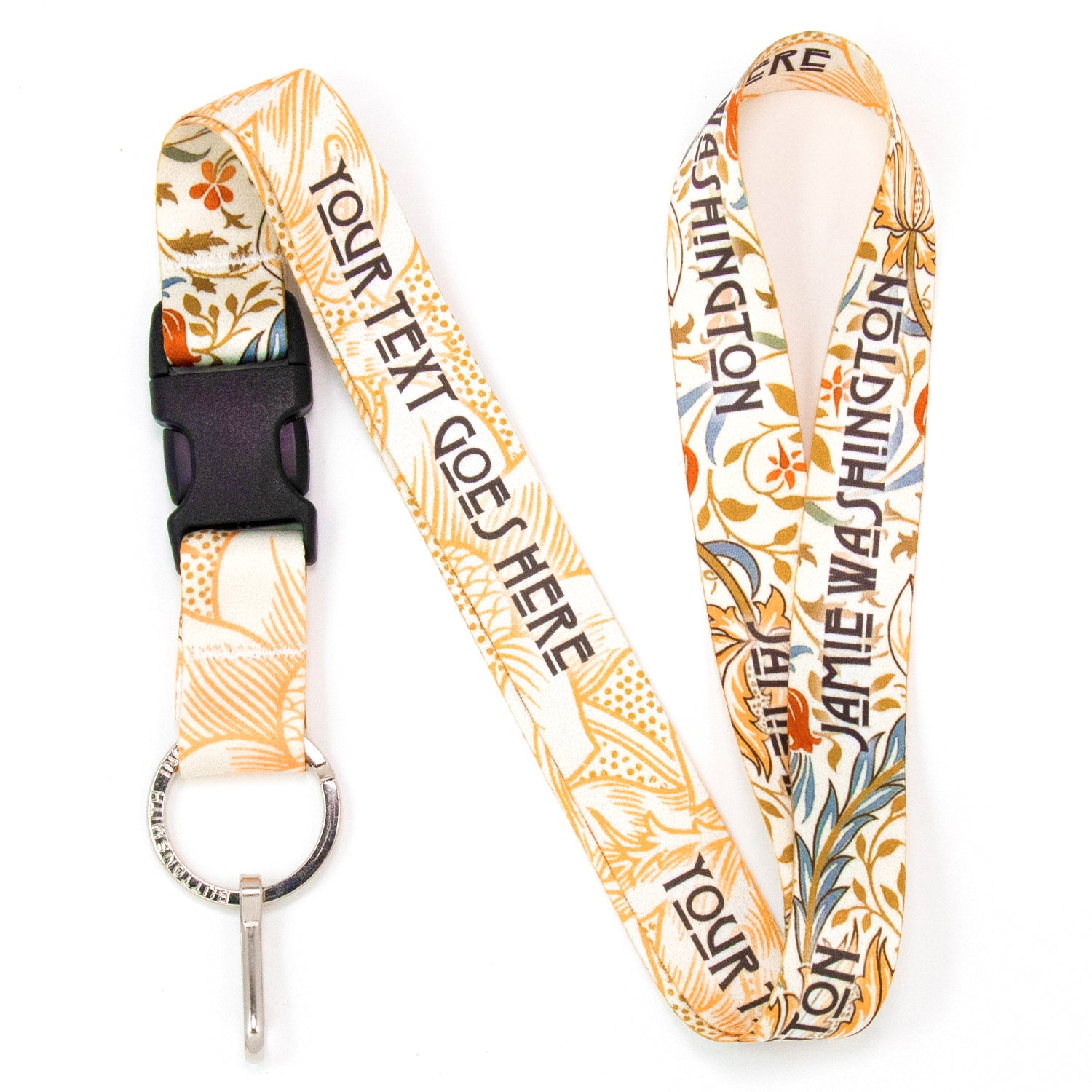 Buttonsmith William Morris Flora Custom Lanyard Made in USA