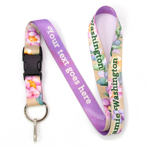 Buttonsmith Watercolor Flowers Custom Lanyard Made in USA