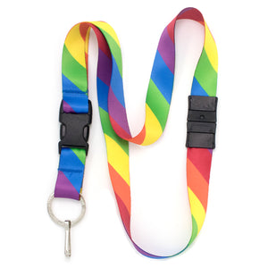 Buttonsmith Rainbow Flag Breakaway Lanyard - Made in USA
