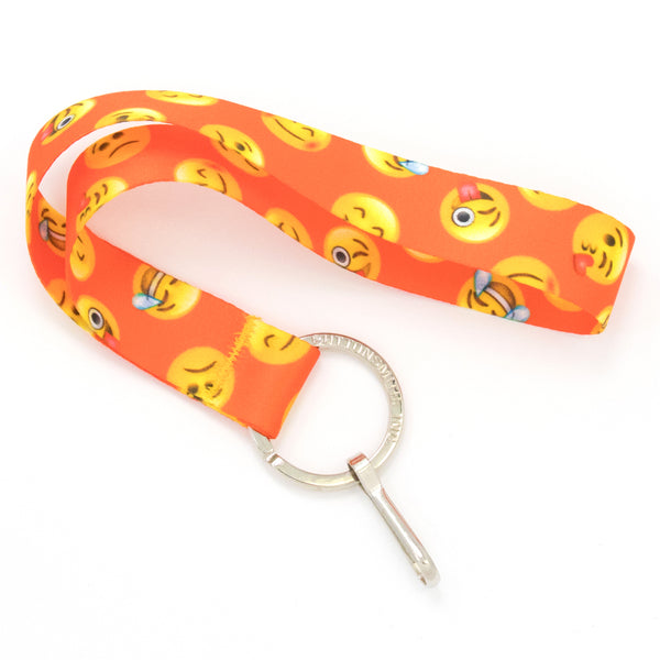 Buttonsmith Emoji Orange Wristlet Lanyard Made in USA