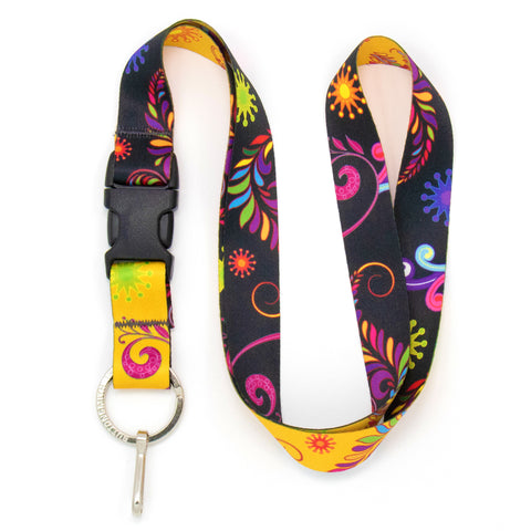 Buttonsmith Bright Floral Premium Lanyard - Made in USA
