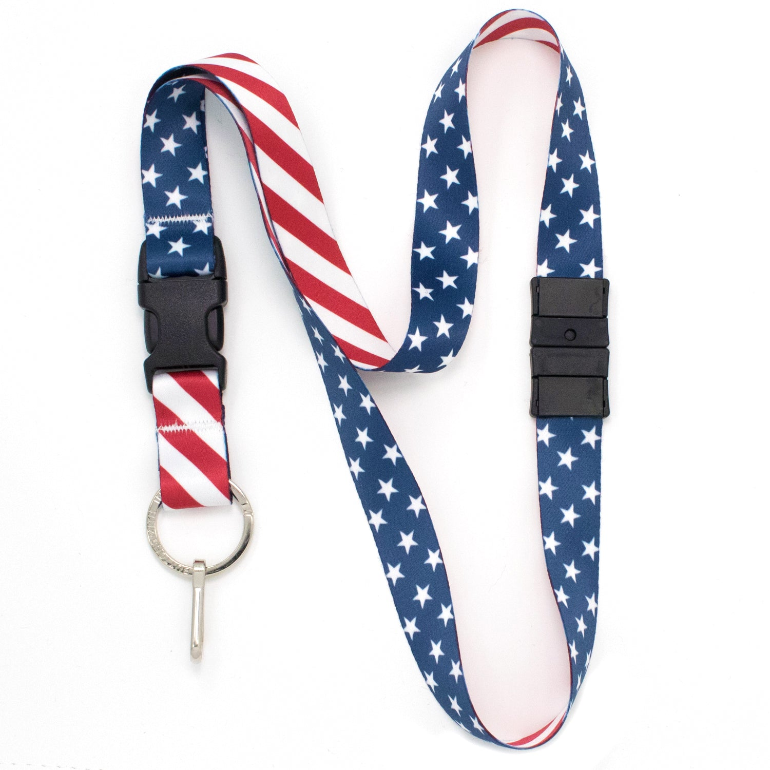 Buttonsmith Stars & Stripes Breakaway Lanyard - Made in USA