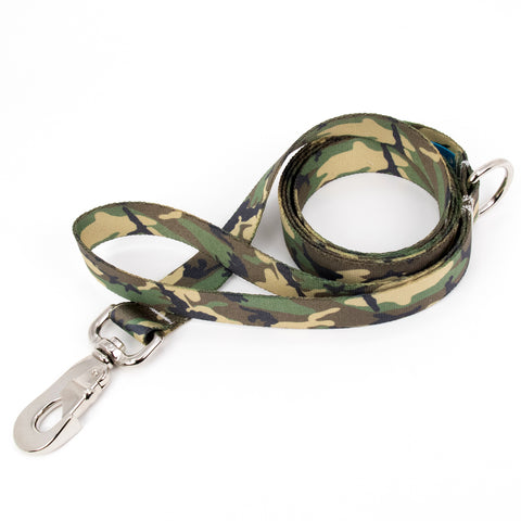 Buttonsmith Woodland Camo Dog Leash Fadeproof Made in USA