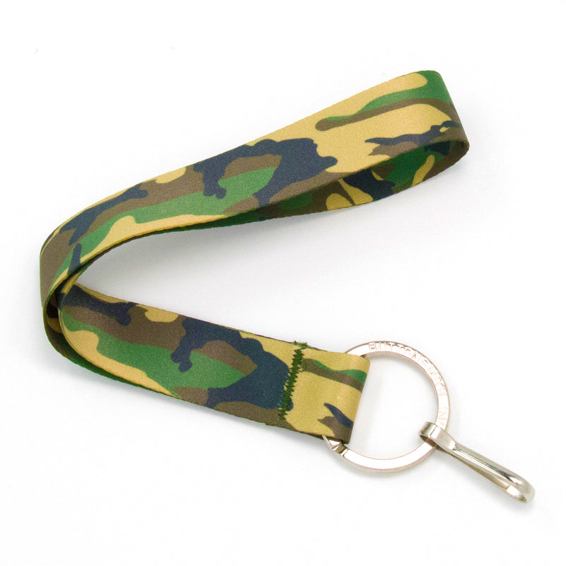 Buttonsmith Woodland Camo Wristlet Lanyard - Made in USA - Buttonsmith Inc.
