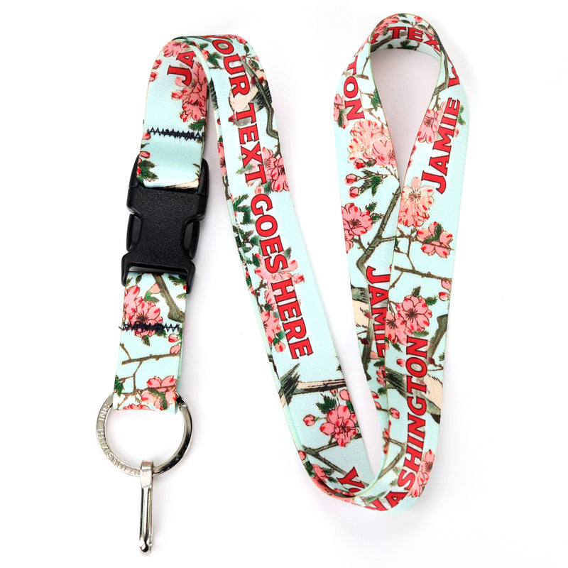 Buttonsmith Hiroshige Cherry Blossoms Custom Lanyard - Made in USA - Buttonsmith Inc.
