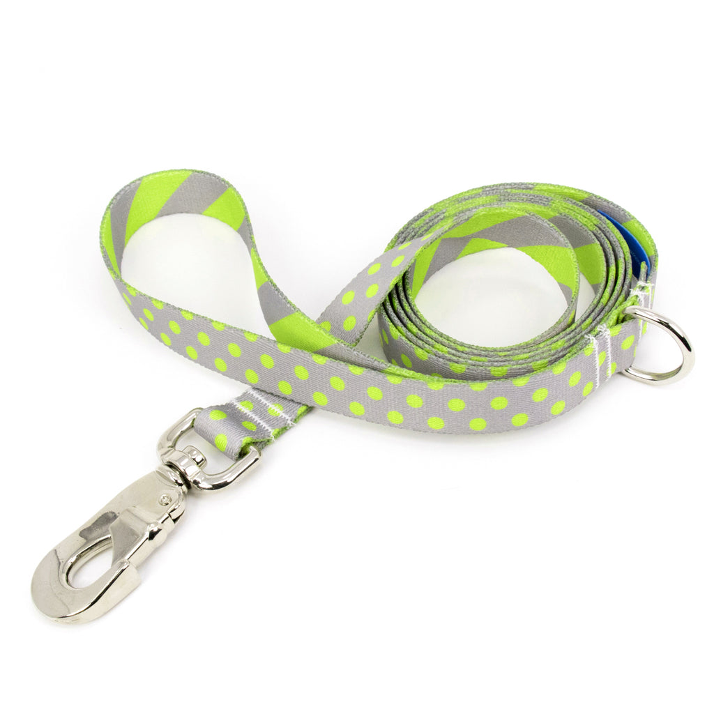 Buttonsmith PewterLime Dots Dog Leash Fadeproof Made in USA