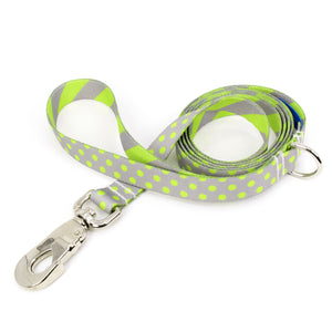Buttonsmith Pewter Lime Dots Dog Leash Fadeproof Made in USA