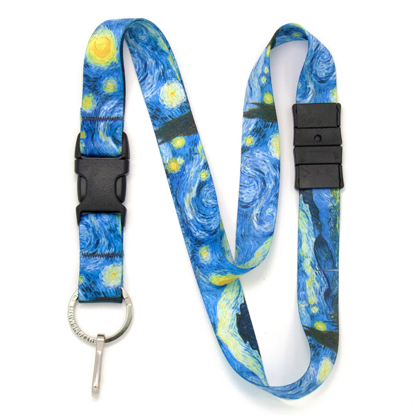Buttonsmith Van Gogh Starry Night Breakaway Lanyard - Made in USA