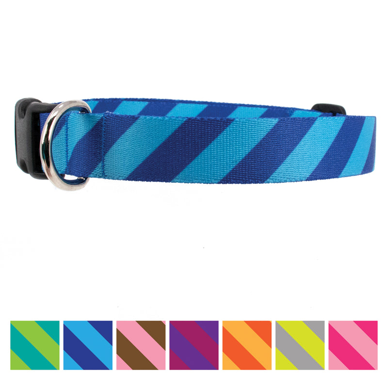 Buttonsmith Blue Stripes Dog Collar - Made in USA - Buttonsmith Inc.