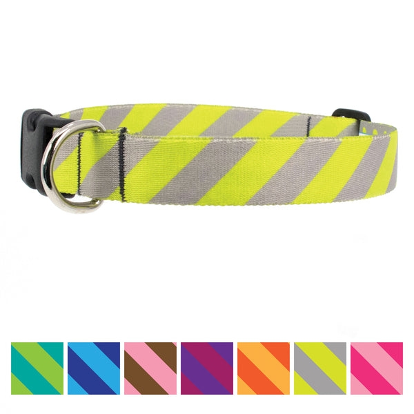 Buttonsmith Pewter Lime Stripes Dog Collar - Made in USA