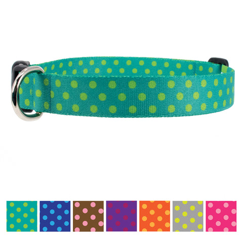 Buttonsmith Aqua Dots Dog Collar - Made in USA