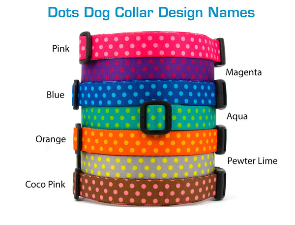 Buttonsmith Magenta Dots Dog Collar - Made in USA