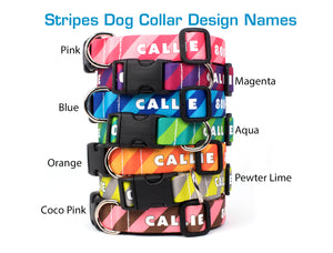 Custom Personalized Dog Collars - Stripes Designs - Made in USA