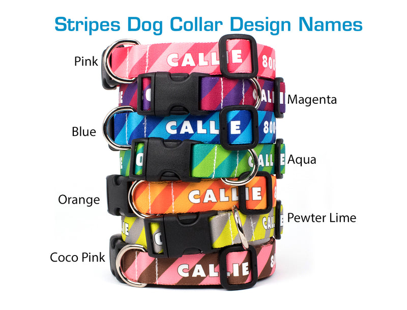 Custom Personalized Dog Collars - Stripes Designs - Made in USA - Buttonsmith Inc.