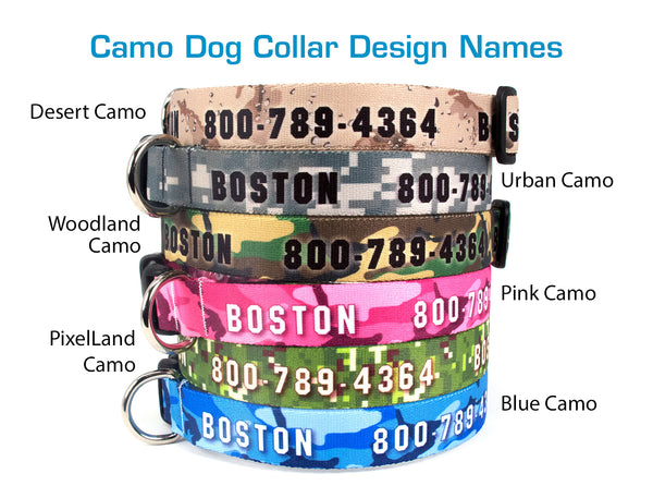 Custom Personalized Dog Collars - Camo Designs - Made in USA