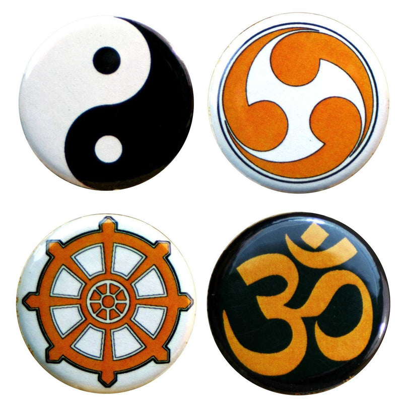 "Buttonsmith® 1.25"" Meditation Refrigerator Magnets - Set of 4 - Buttonsmith Inc."