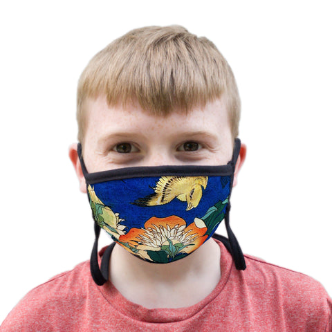 Buttonsmith Hokusai Canary & Peony Youth Adjustable Face Mask with Filter Pocket - Made in the USA