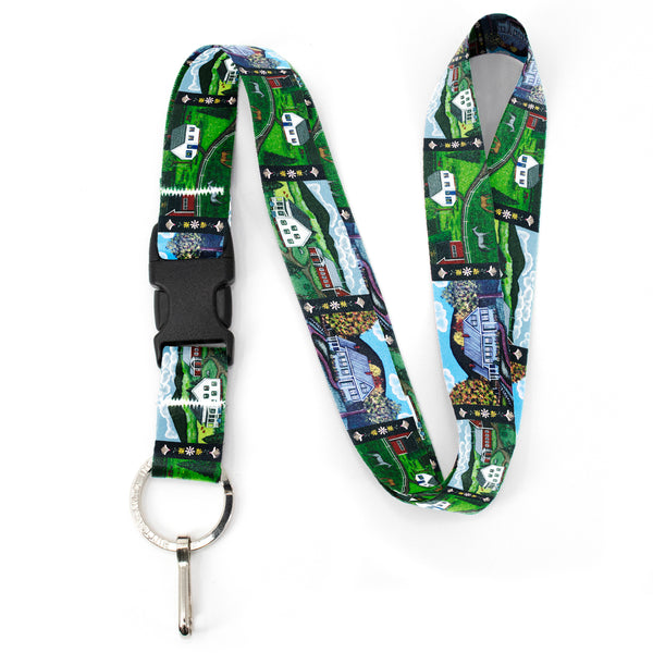 Buttonsmith Farm Houses Premium Lanyard - with Buckle and Flat Ring - Based on Rebecca McGovern Art - Officially Licensed - Made in the USA