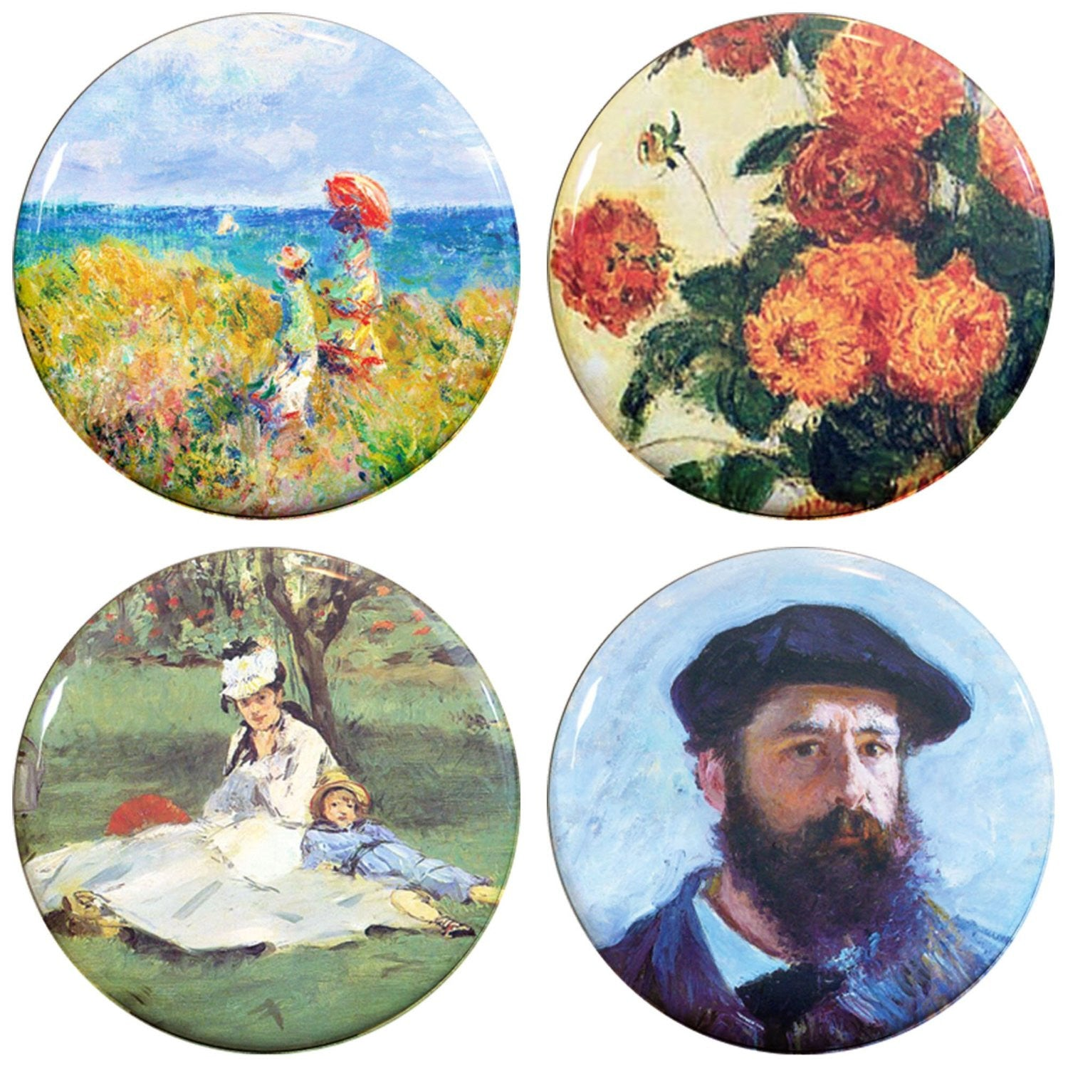 "Buttonsmith® 1.25"" Monet Cliff Walk Refrigerator Magnets - Set of 4"