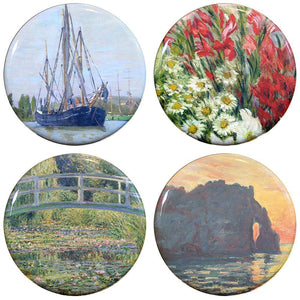 "Buttonsmith® 1.25"" Monet Gladiolas Refrigerator Magnets - Set of 4"