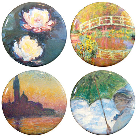 "Buttonsmith® 1.25"" Monet Water Lilies Refrigerator Magnets - Set of 4"