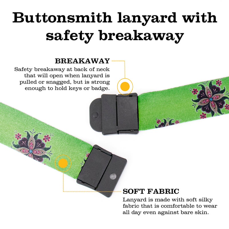 Buttonsmith Purple Rosemaling Breakaway Lanyard - with Buckle and Flat Ring - Based on Rebecca McGovern Art - Officially Licensed - Made in the USA - Buttonsmith Inc.