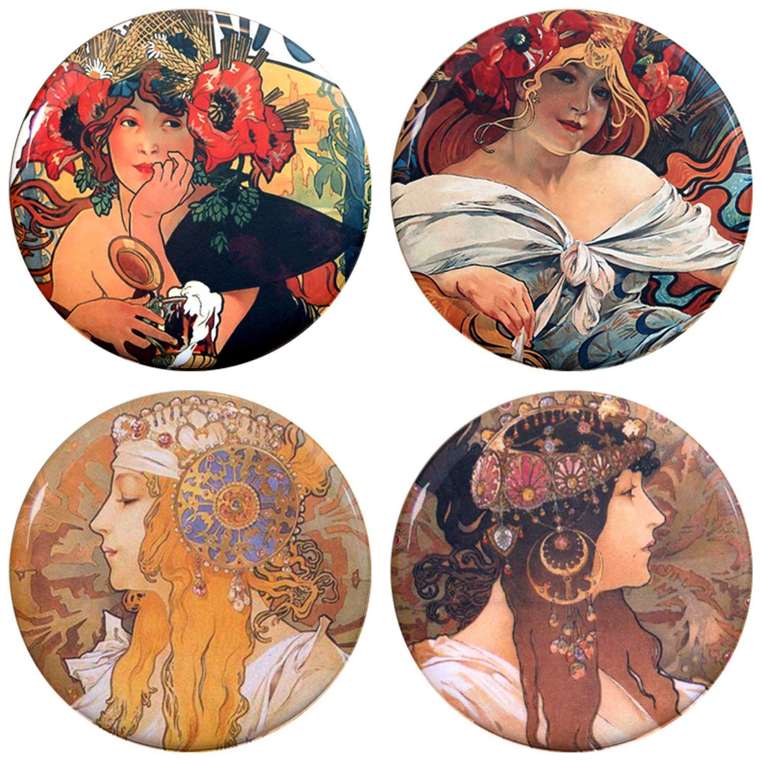 "Buttonsmith® 1.25"" Mucha Beer Refrigerator Magnets - Set of 4"
