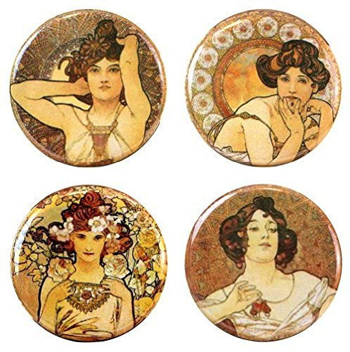 "Buttonsmith® 1.25"" Mucha Gemstones Refrigerator Magnets - Set of 4"